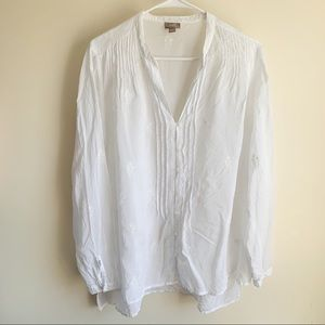 J Jill Embroidered Button Up V-Neck Blouse White